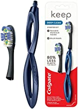Colgate Keep Soft Manual Toothbrush for Adults with 2 Deep Clean Floss-Tip Brush Heads, Navy