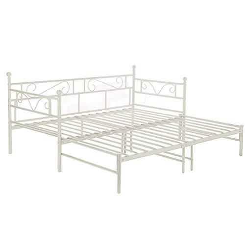 setsail Lit Banquette Canapé lit Simple en Métal Lit de Jour avec lit gigogne, Peut être prolongé de 95-177 cm, Blanc