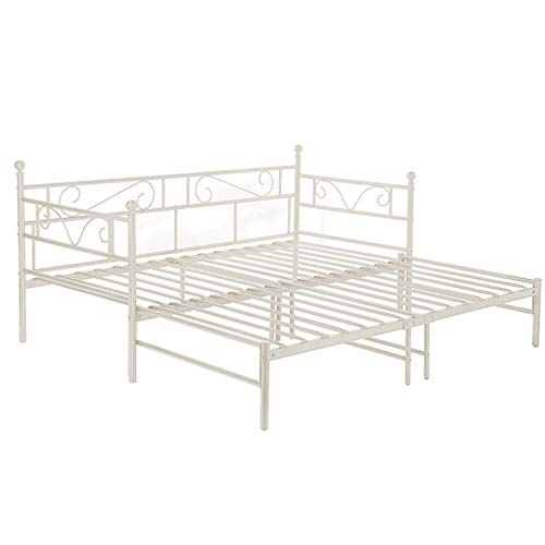 setsail Florenz Metallbett Tagesbett ausziehbar auf 180x190 cm Ausziehbett Kinderbett Bettgestell Metall Gästebett Couchbett Beige