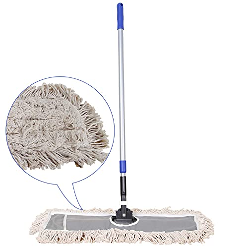 """JINCLEAN 24"""" Industrial Cotton Floor Dust Mop with adjustable Steel Handle - Commercial Mops for Hardwood, Tiles, Laminate, Vinyl, Garage epoxy, Bamboo surface cleaning and Flooring Push Dust Broom"""