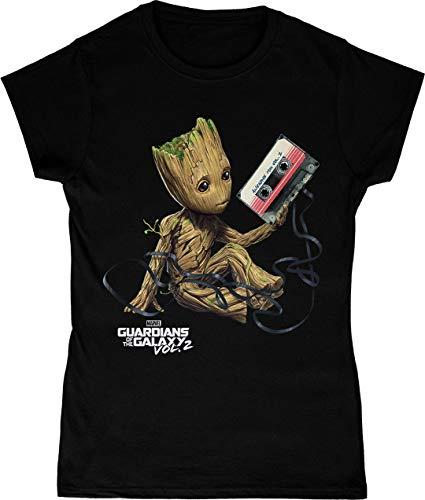 Marvel Mujer Guardians of The Galaxy Groot Tape Camiseta Negro Medium