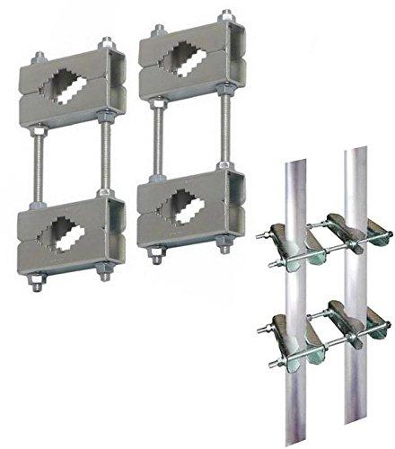 Doppelschelle; Set mit 4 Schellen-Paaren; für Mast an Mast - Montage (Mastverlängerung) oder Mastmontage an Balkongeländer