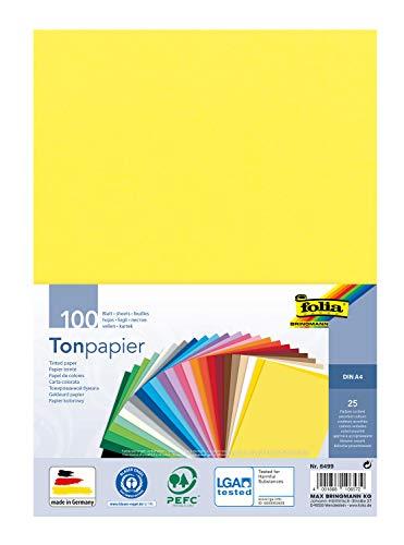 folia 6499 - Tonpapier Mix, DIN A4, 130 g/m², 100 Blatt sortiert in 25 Farben, zum Basteln und kreativen Gestalten von Karten, Fensterbildern und für Scrapbooking
