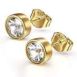 SK.Luxes Stilvolle 925 Damen Ohrstecker mit Luxuriöse Schmuckbox, Silber/Gold Basic Ohrringe Vergoldet Zirkonia Geschenk geschenkideen geburtstag