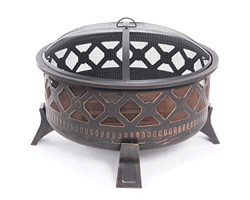 Feuerstelle 78 cm Stahl rund Feuerschale Antik Feuerkorb mit Funkenhaube und Schürhaken gratis