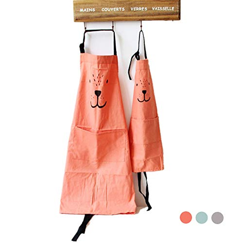 Yolopark Lovely Parent and Child Apron, Comfortable Simple Cotton and Linen Apron with Pocket for Painting Cooking Artist Chef, Pack of 2 (Orange)