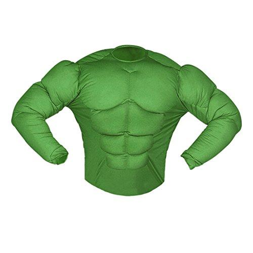Amakando Hulk Muskelkostüm Superheldenkostüm Sixpack XL 54 Comic Muskel Shirt grün Superhelden Kostüm Karnevalskostüme Herren Halloween Outfit Superheld Verkleidung