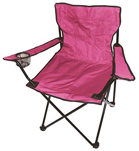 Spetebo Camping Klappstuhl in 7 Farben - Campingstuhl, Anglersessel mit Getränkehalter (pink)