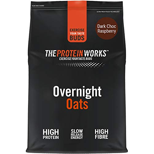 THE PROTEIN WORKS Overnight Oats | High Protein Breakfast | Low Sugar Snack | Low GI Oats | Dark Choc Raspberry | 1 kg