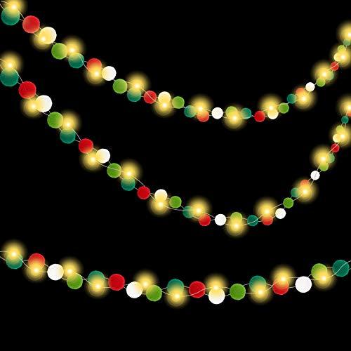 Christmas Garland with Lights Christmas Felt Ball Lights Christmas Felt Ball Garland Christmas Felt Banner Christmas Pom Pom Garland Xmas Decor Garland Lights Christmas Decoration Holiday Decor