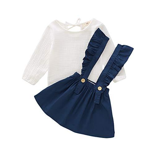 DaMohony Kinder-Outfit bestehend aus Rock und Langarmoberteil, für Babys, Mädchen, 2-teiliges Kleidungsset aus Baumwolle und Leinen, Rock mit Hosenträgern mit Rüschen Gr. 80 cm (12-24 Monate), blau
