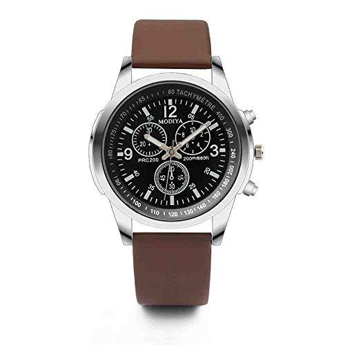 DECTN Reloj de Pulsera Relojes para Hombre Relojes Deportivos de Tres Ojos para Hombre Reloj de Cuarzo para Hombre Reloj con cinturón de Cristal Azul Hombres, Marrón