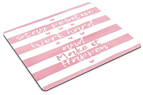 Smooffly Positive Motivating Quote on a Watercolor Striped Background Mousepad, Stay Positive Work Hard and Make It Happen Inspirational Quotes Mouse pad for Work Photo #6