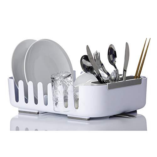 Vigar Rengo Abtropfgestell für Küchengeschirr mit Abflusssystem, Kunststoff, Weiß, 38.5x29x10.5