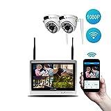 Lvreby Cámara IP inalámbrica, 2MP 1080P 12inch LCD cámara de Seguridad al Aire Libre Sistema WiFi Video vigilancia Kit Home CCTV Set NVR-Tarjeta de 2 TB TF,2CH