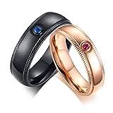 OIDEA Paar Ringe Zirkonia Eheringe EdelstahlRinge Rosegold schwarz für Damen Herren mit Geschenkbox