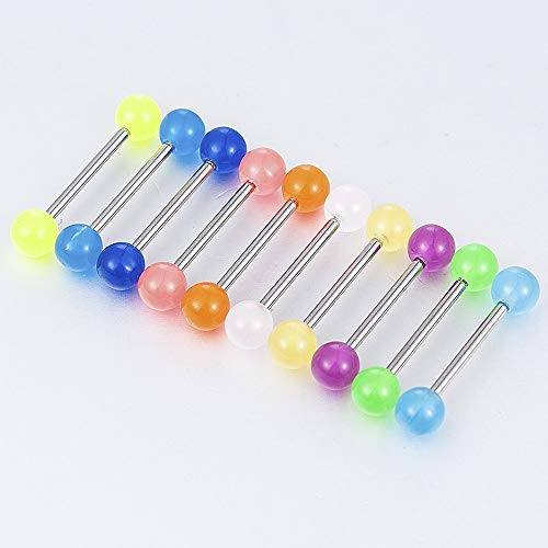 Aralinda, piercing per lingua, in acciaio inox, con colori luminosi, 10 pezzi