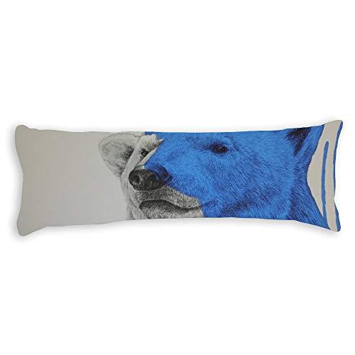 Fhdang Decor Bear Body Pillow Case Super Doux Coton Lavable en Machine avec Fermeture éclair Maternité Grossesse, Coton, Single 3ft (36'')