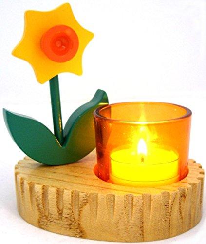 1a PartyLite Frühlingsimpressionen Votivkerzenhalter Hase Narzisse --- Glas mit handbemaltem Holz --- 11x12 cm