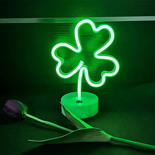 ENUOLI Shamrock Shape LED Neon Signs Green Decorative Lights USB/Battery Powered Led Neon Light Decoration Lights with Base Shamrock Lucky Grass Neon Sign Neon Night Light for Room Party Wedding