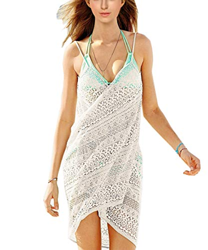 Damen Elegant Pareos Sunscreen Strandkleider Tiefe V -Ausschnitt Trägerkleid Wickelkleid Beachwer (One Size, Weiß)