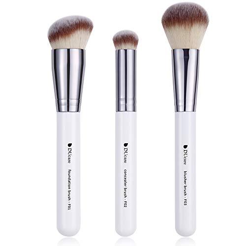 DUcare Makeup Kabuki Brushes 3Pcs Foundation Brush& Concealer Brush& Blusher Brush Face Blush Bronzer Travel Buffing Stippling Contour Liquid Blending Makeup brush set White