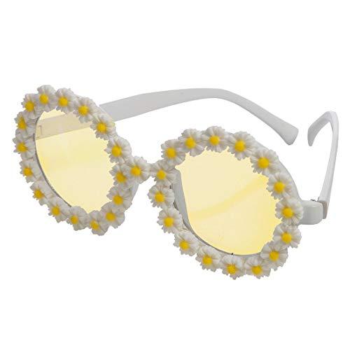 NET TOYS Witzige 60er Jahre Rundbrille mit Gänseblümchen - Weiß-Gelb - Zauberhaftes Damen-Kostüm-Zubehör Flower Power Sonnenbrille Peace - Wie geschaffen für Festival & Karneval