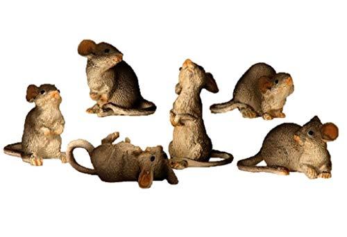Geschenkestadl 6 Stück Maus Mäuse Figuren 4,5cm bis 8cm groß Figur für Haus und Garten Nagetiere Kleintiere