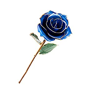 24k Gold Rose Flower Gold Foil Artificial Forever Rose Romantic Flowers Gifts for Women&her&Mum on Mother's Day Valentines Day Blue