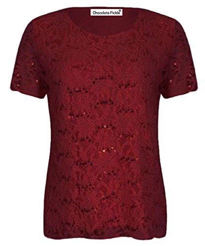 Xclusive Plus Top con Decorado Floral y Lentejuelas - de Color Vino para Mujer de Talla 44-46
