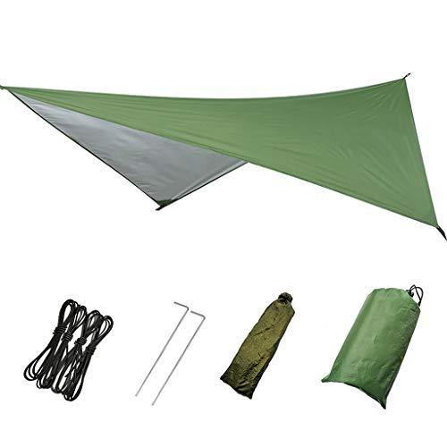 Perfeclan Tienda de Trabajo Pesado Lona Hamaca Lluvia Mosca Cubierta 3x3m Gran Impermeable Ripstop Camping Refugio Ligero con Bolsa para Camping de Viaje al - Verde