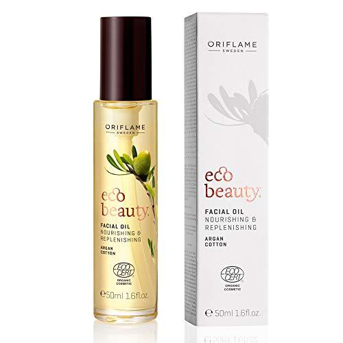 ECOBEAUTY Aceite facial Argán orgánico para cara 50ml- Altamente nutritivo con extracto de Algodón y Aceite de Argán. Vitamina E y nutrientes que suavizan y reconfortan la piel. Sin parabenos.