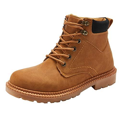 Zapatos de hombre JiaMeng-ZI Casual Retro Botas Altas Cabeza Redonda Anti-Piercing Botas de Seguridad Estilo británico Botas de Nieve Cálidas y Cómodas Zapatos Aire Libre Zapatillas de Deporte