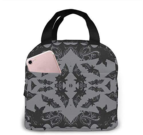 Bat Bolsa de almuerzo aislada portátil con cremallera y bolsillo frontal, caja impermeable para mujeres, hombres, niños, niñas, oficina, escuela, senderismo, playa, picnic, pesca
