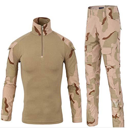 MKJYDM Camouflage Clothing Herren Slim Langarm T-Shirt Jacke Hemd und Hose Camouflage Uniform Camouflage (Größe : L)