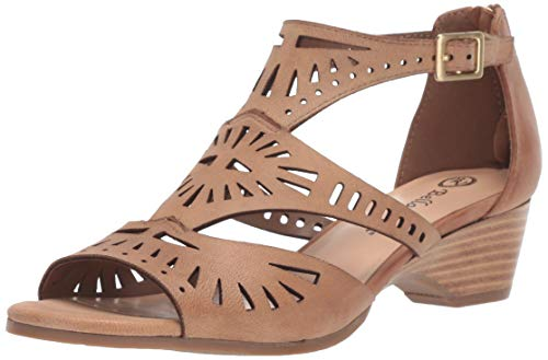 Bella Vita Women's Penny Cutout Sandal with Back Zipper Shoe, Saddle Burnish Leather, 8 N US