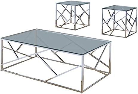 Furniture of America Rosemeade 3-Piece Coffee Superlatite San Antonio Mall Top Table Glass Se