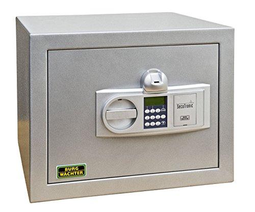 Burg-Wächter Möbeltresor mit elektronischem Zahlenschloss und Fingerscan-Modul, Widerstandsgrad N, Karat MT 24 NE FS, Platingrau