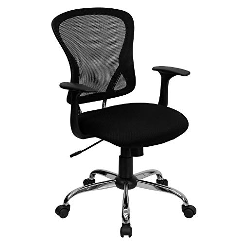 Flash Furniture Mid-Back Black Mesh Swivel Task Office Chair with Chrome Base and Arms, BIFMA Certified