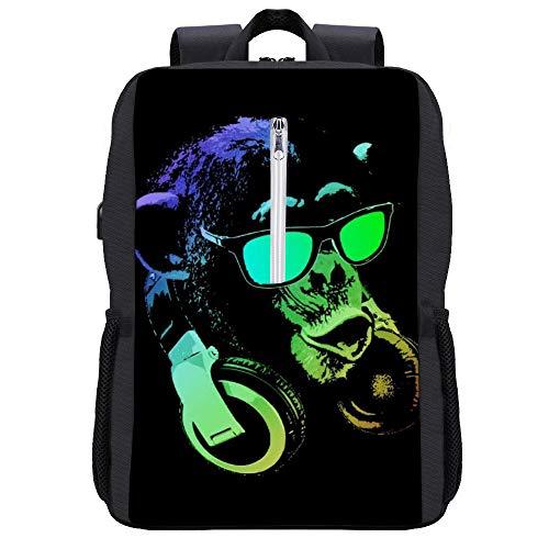 Monkey DJ Rucksack Daypack Bookbag Laptop Schultasche mit USB-Ladeanschluss