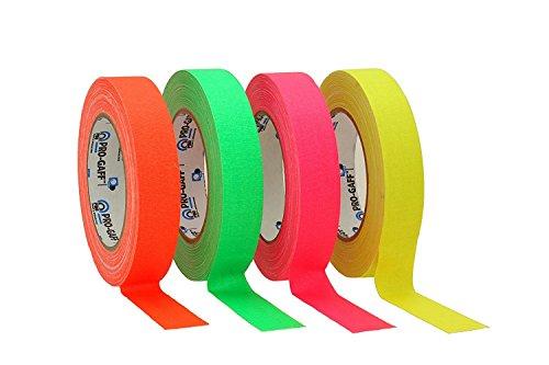 ProTapes/Permacel Klebeband, fluoreszierend, 24mm x 22,8m grün, orange, rosa und gelb
