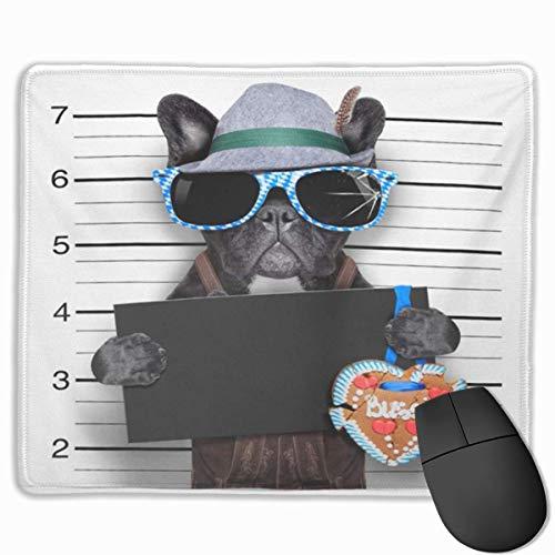 Nettes Gaming-Mauspad, Schreibtisch-Mauspad, kleines Mauspad für Laptop-Computer, Mausmatte Gangster Mugshot Bayerischer Hund mit leerem leerem Bier betrunken Lustige Party-Polizei gesucht