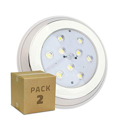 LEDKIA LIGHTING Pack Foco Piscina LED Inox Superficie 9W (2 un) Blanco Cálido 3000K