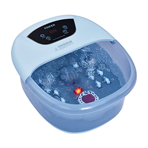 Bain de Pieds Relaxant, Balnéothérapie Pieds avec Pierre de Pédicure 4 en 1 avec fonction chauffage/massage/bulles/Infusion, Affichage numérique, 14 Rouleaux de Massage pour Relaxer les Pieds