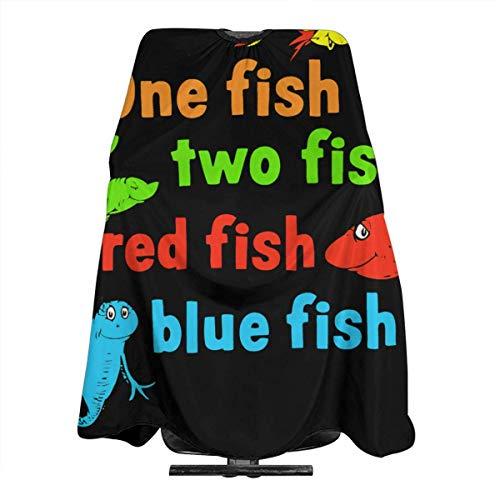 Un pez dos peces pez rojo pez azul lindo delantal de corte de pelo profesional capa para hombres y mujeres estilistas 55 X 66 pulgadas capa adulta
