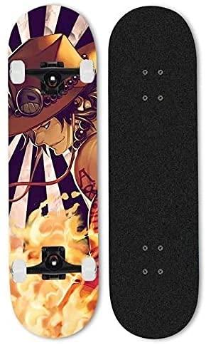 ZZYYII Portgas.d.Ace Siete-Capa Skateboard, One Piece Anime Double Tilt Scooter, Street de la Calle para Principiantes, Scooter de Cepillado de Doble inclinación, Amantes del Deporte