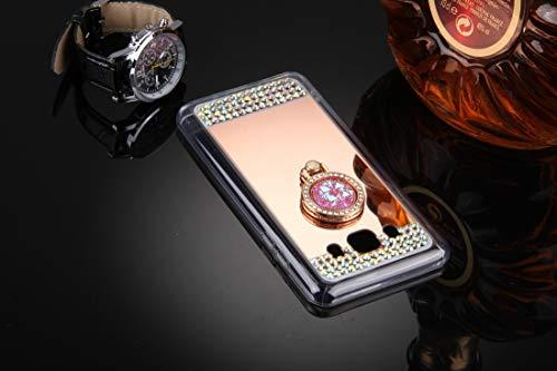 GBHGBH IT for Compatibile con Galaxy J5 (2016) / J510 Diamond Encrusted Specchio for elettroplaccatura Custodia Protettiva con Supporto ad Anello Nascosto (Oro) (Colore : Rose Gold)