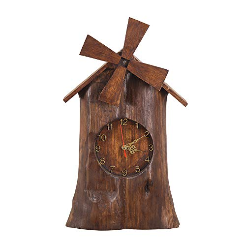 SUPERHUA Thai Solid Wood Wind Truck Table-mounted Seat Clock Living Room Tv Cabinet Clock Set Window Creative Hanging Clock Hanging Clock Bed