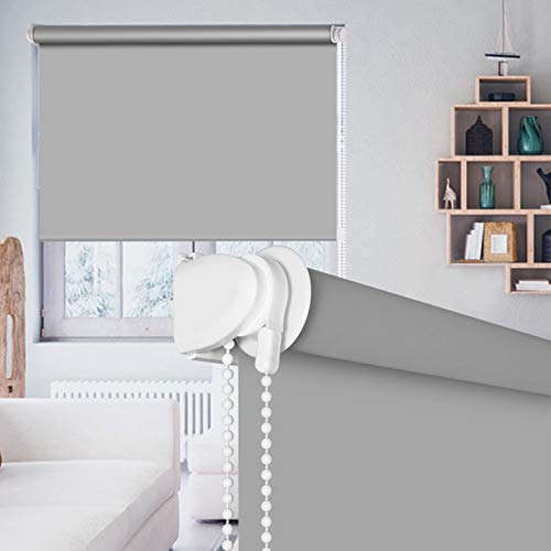 """SEEYE 100% Blackout Waterproof Fabric Window Roller Shades Blind, Thermal Insulated,UV Protection,for Bedrooms,Living Room,Bathroom,The Office, Easy to Install 36"""" W x 79"""" L(Grey)"""