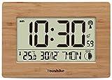 Youshiko - Reloj de pared o escritorio con control por radio (pantalla grande, LCD, silenc...